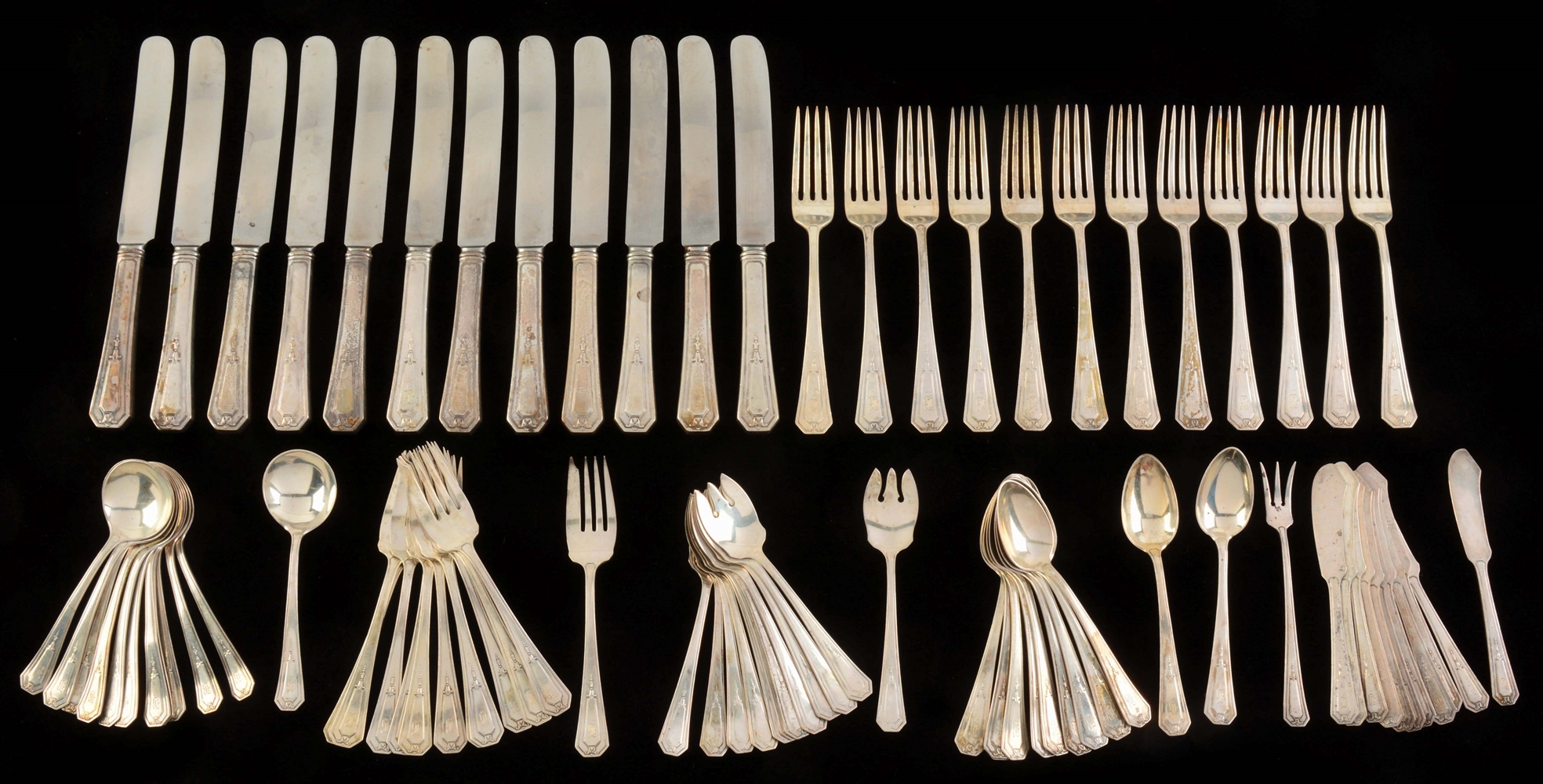 "84-Piece RM&S Set Sterling Silver with ""B"" Monogram."