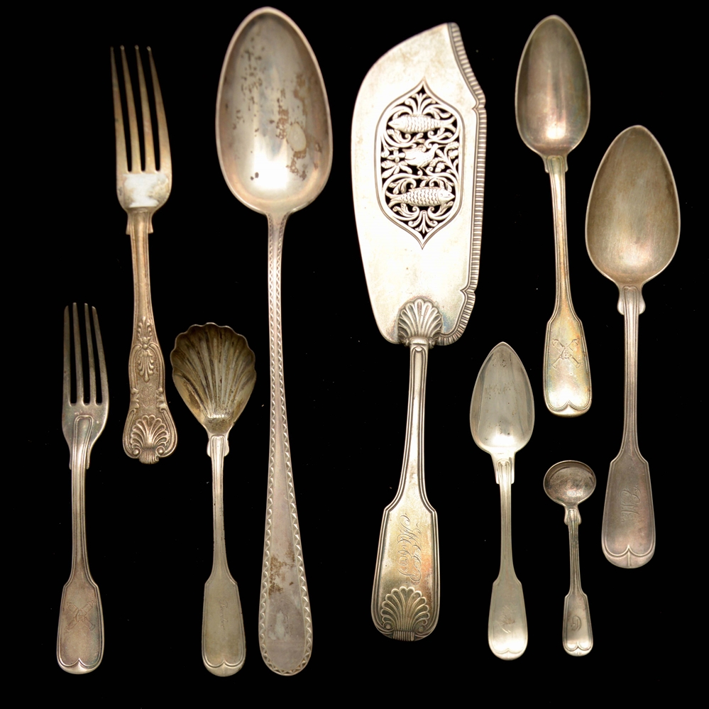 A Group of English and American Silver Flatware.