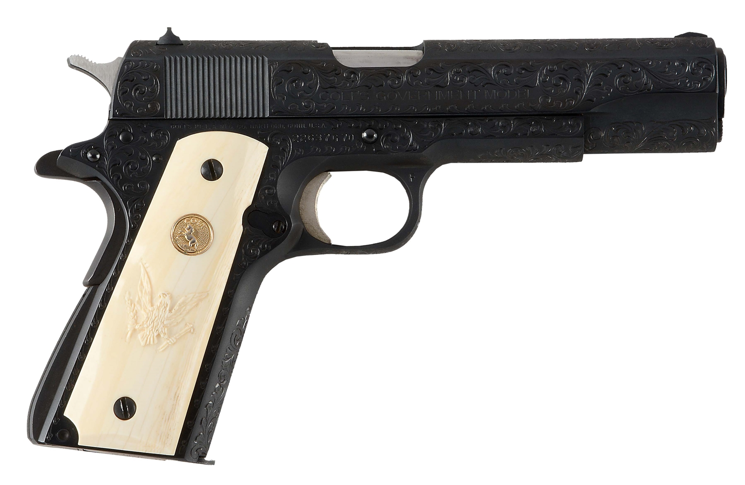 (M) CASED AND FACTORY ENGRAVED COLT MODEL 1911A1 SERIES 70 SEMI-AUTOMATIC PISTOL (1977).