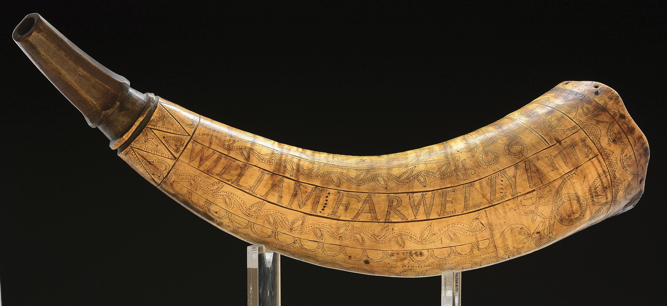 ENGRAVED POWDER HORN OF WILLIAM FARWELL, DATED 1775.