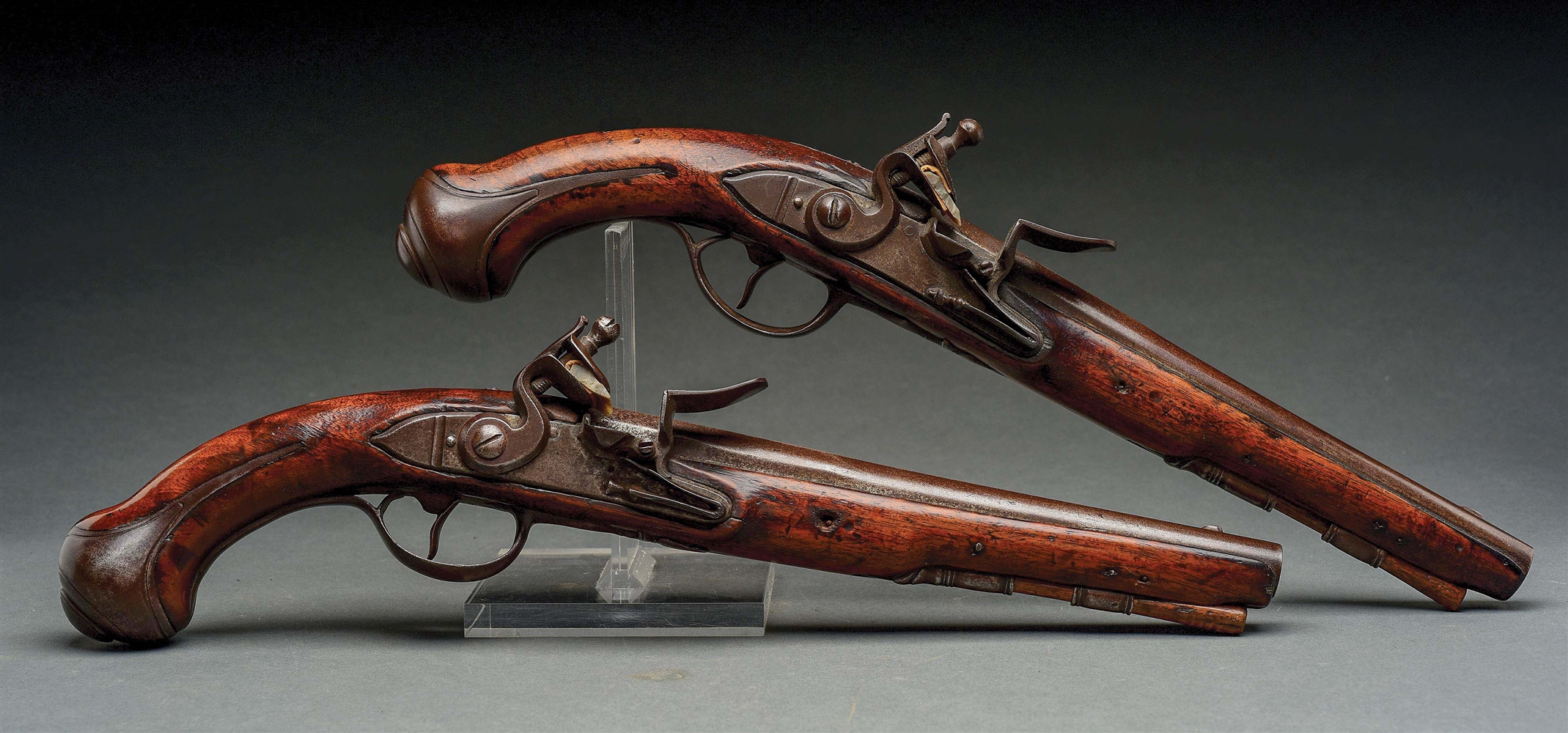 (A) RARE PAIR OF AMERICAN FLINTLOCK HOLSTER PISTOLS BY THOMAS ANNELY.