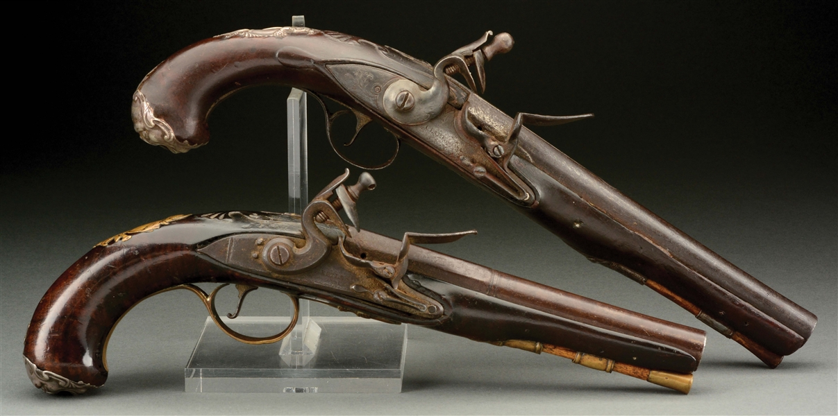 (A) LOT OF 2: ENGLISH FLINTLOCK OFFICERS PISTOLS.