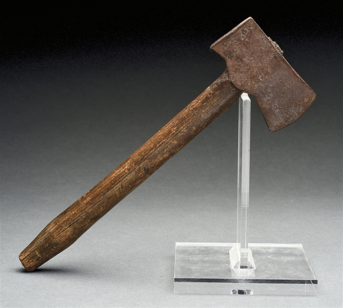 EARLY DIMINUTIVE CAMP OR BELT AXE WITH ORIGINAL HAFT.