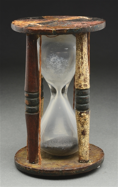 PAINT DECORATED HOURGLASS FOR RIFLE TIMING, FOUND IN NORTH CAROLINA.