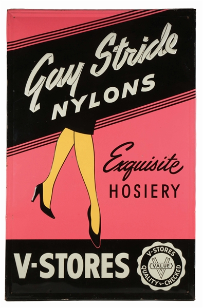 LARGE GAY STRIDE NYLONS EMBOSSED TIN ADVERTISING SIGN.