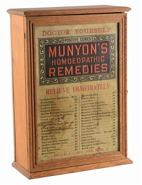 MUNYONS REMEDIES ADVERTISING CABINET DISPLAY.