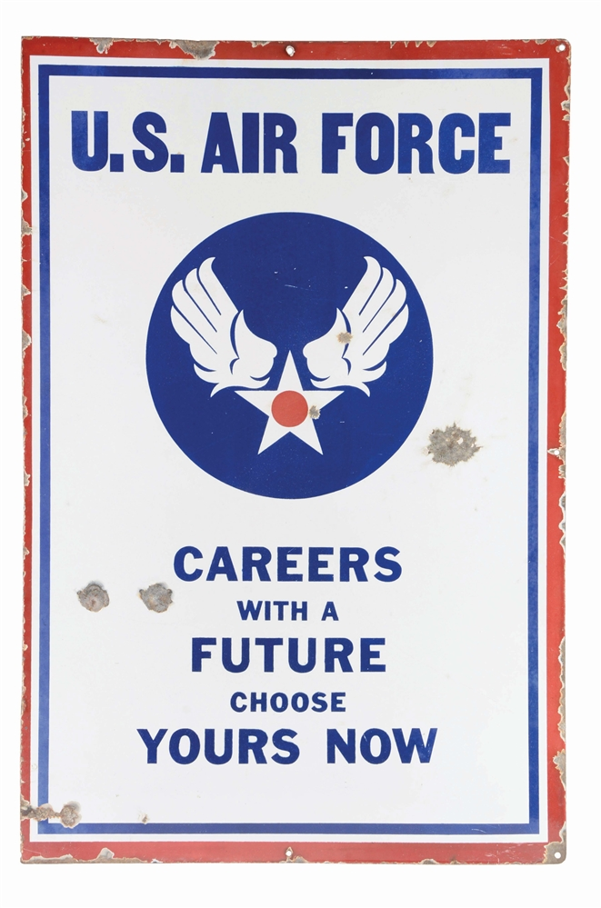 DOUBLE SIDED PORCELAIN & STEEL U.S. ARMY & AIR FORCE RECRUITING SIGN.