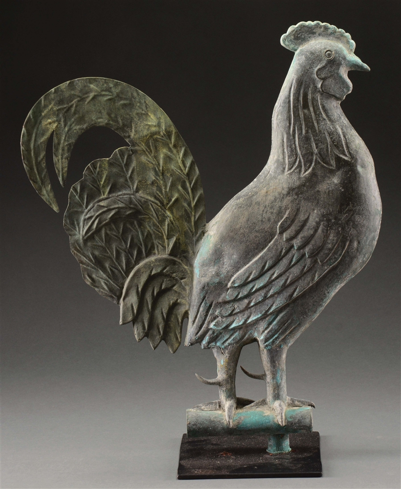 Exceptional A. L. Jewell & Co. Rooster Weathervane.
