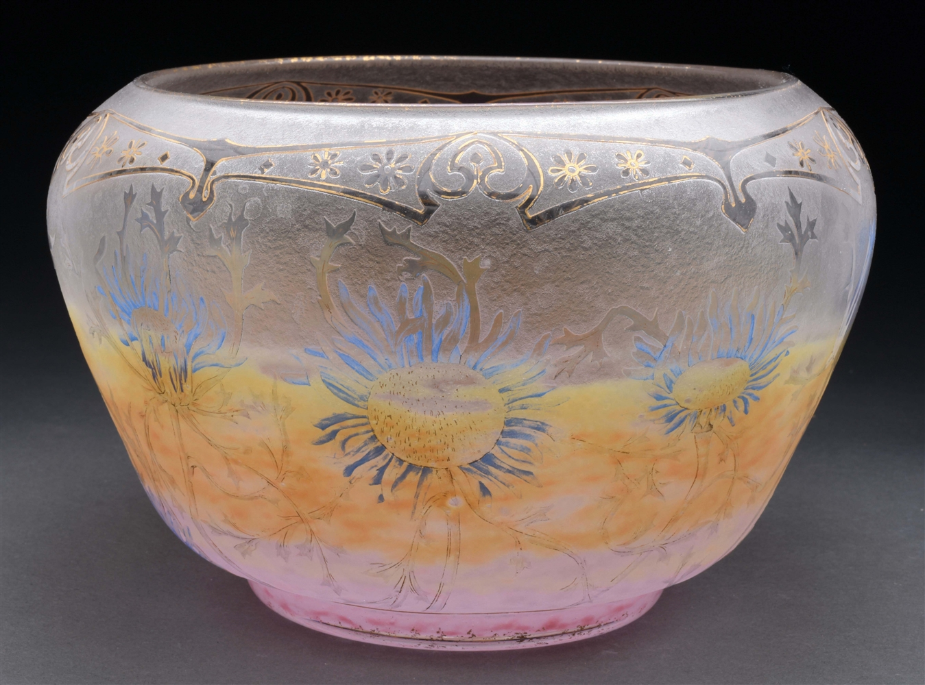 Daum Cameo and Enameled Thistle Bowl.