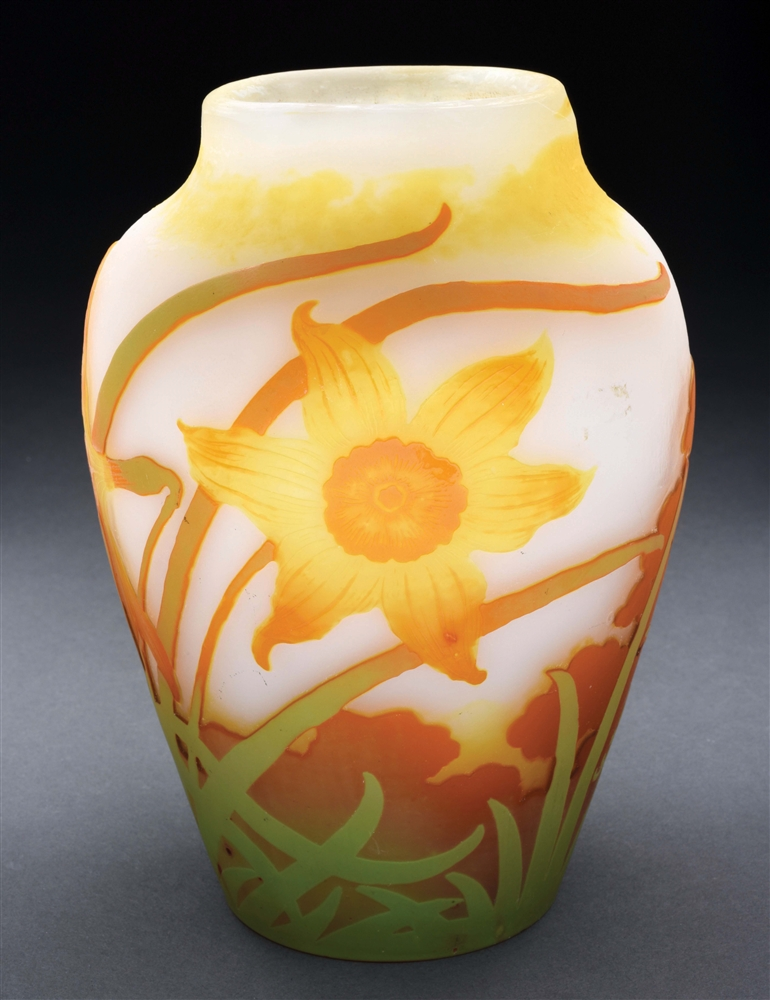 Galle Cameo Daffodil Vase.