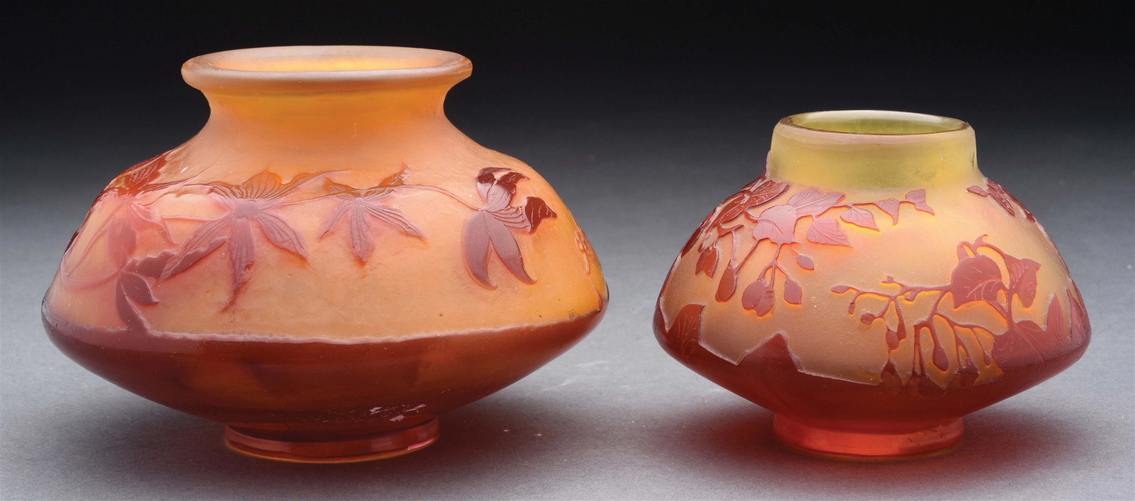 Lot of 2: Two Galle Cameo Vases.