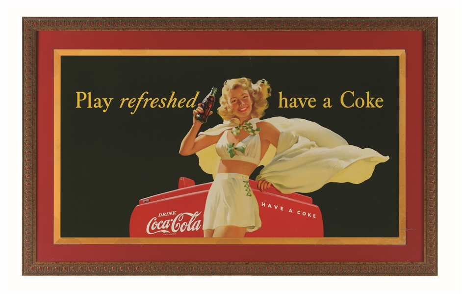 1948 GIRL WITH CAPE SMALL HORIZONTAL COKE POSTER.