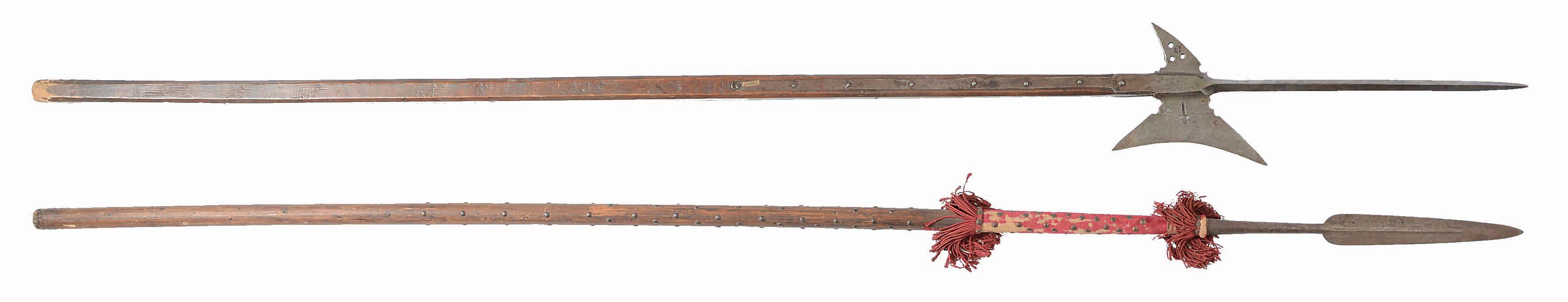 LOT OF 2: A Good LATE 16TH CENTURY HALBERD WITH PIERCED BLADE AND FLUKE AND...