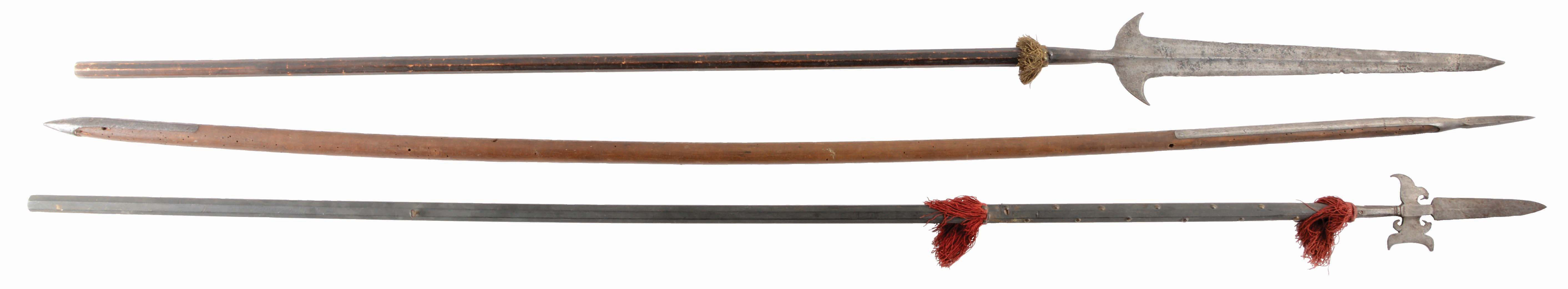 LOT OF 3: THREE ANTIQUE EUROPEAN POLEARMS INCLUDING A LATE 16TH CENTURY...