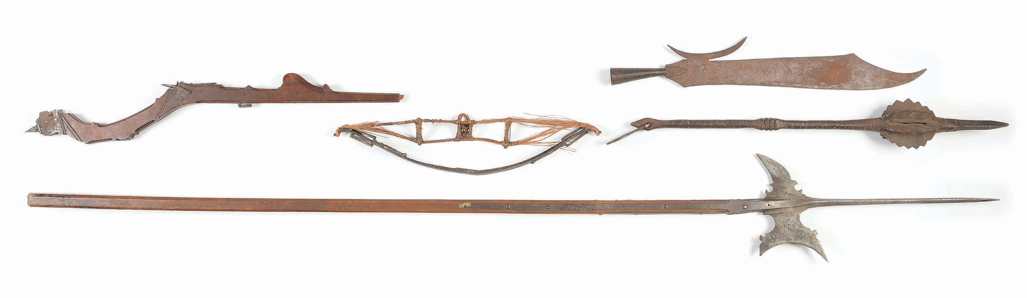 Lot of 4: European Weapons Including A 17th Century Halberd on Shaft, A...