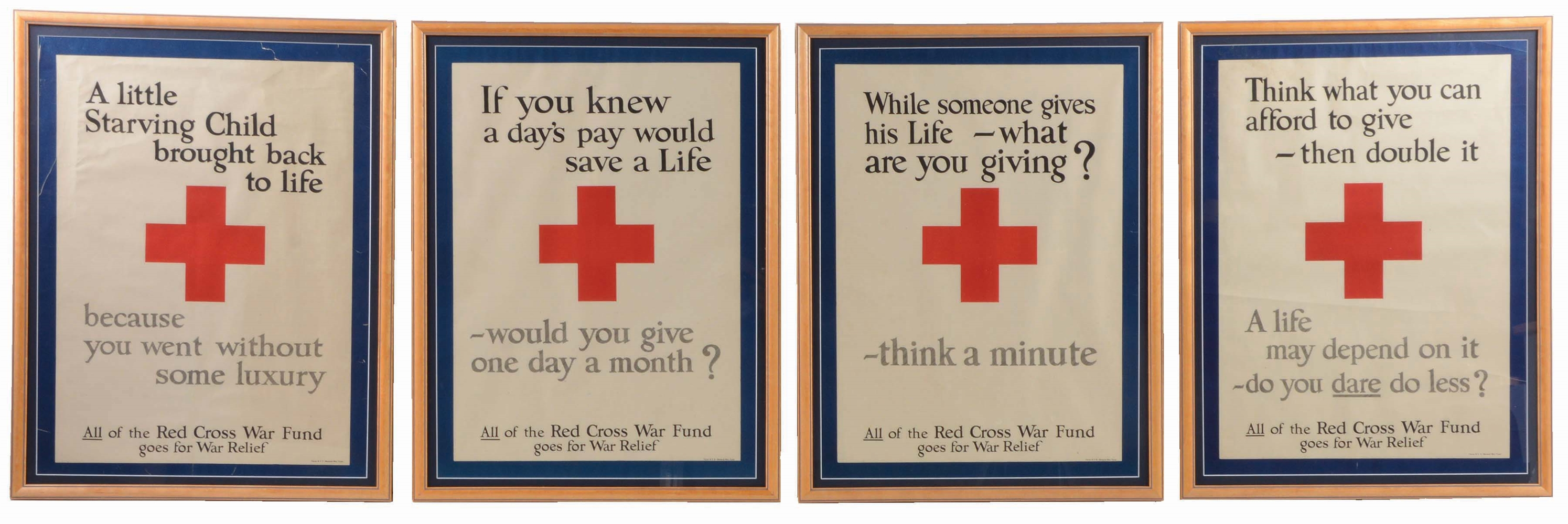 LOT OF 4: COMPLETE PROFESSIONALLY FRAMED WORLD WAR I SET OF FOUR RED CROSS POSTERS.