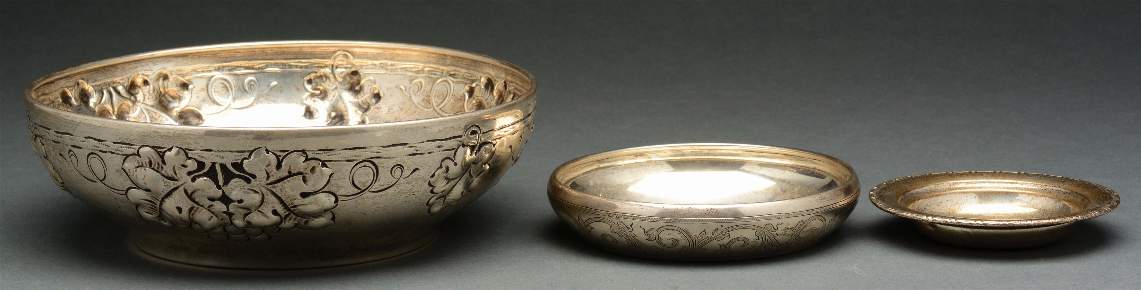 Lot of 3: Norwegian 830 Silver Bowls, One with Repousse Design.