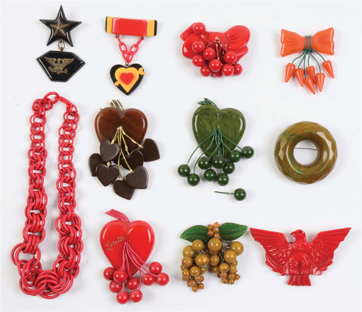 Lot of 11: Bakelite Pins & Necklace.