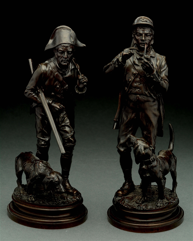Alfred Dubucond (1828 - 1894) 2 Bronze Sculptures of a Hunter with His Dog.