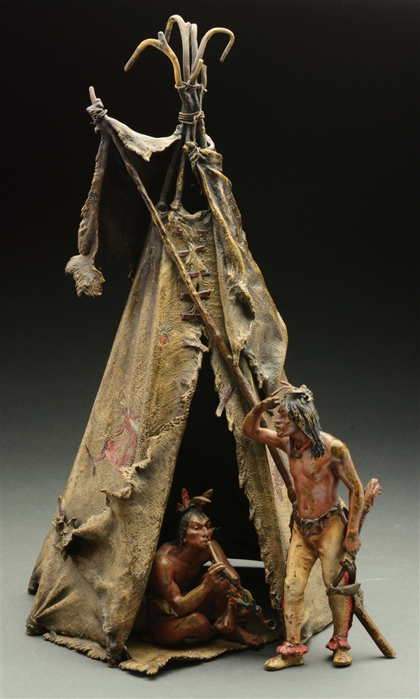 Franz Bergman (1898 - 1963) Figural Bronze of a Tipi with 2 Native Americans.
