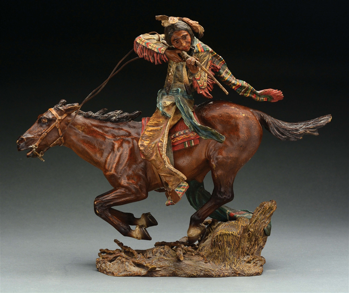 Bronze Sculpture of Native American on Running Horse.