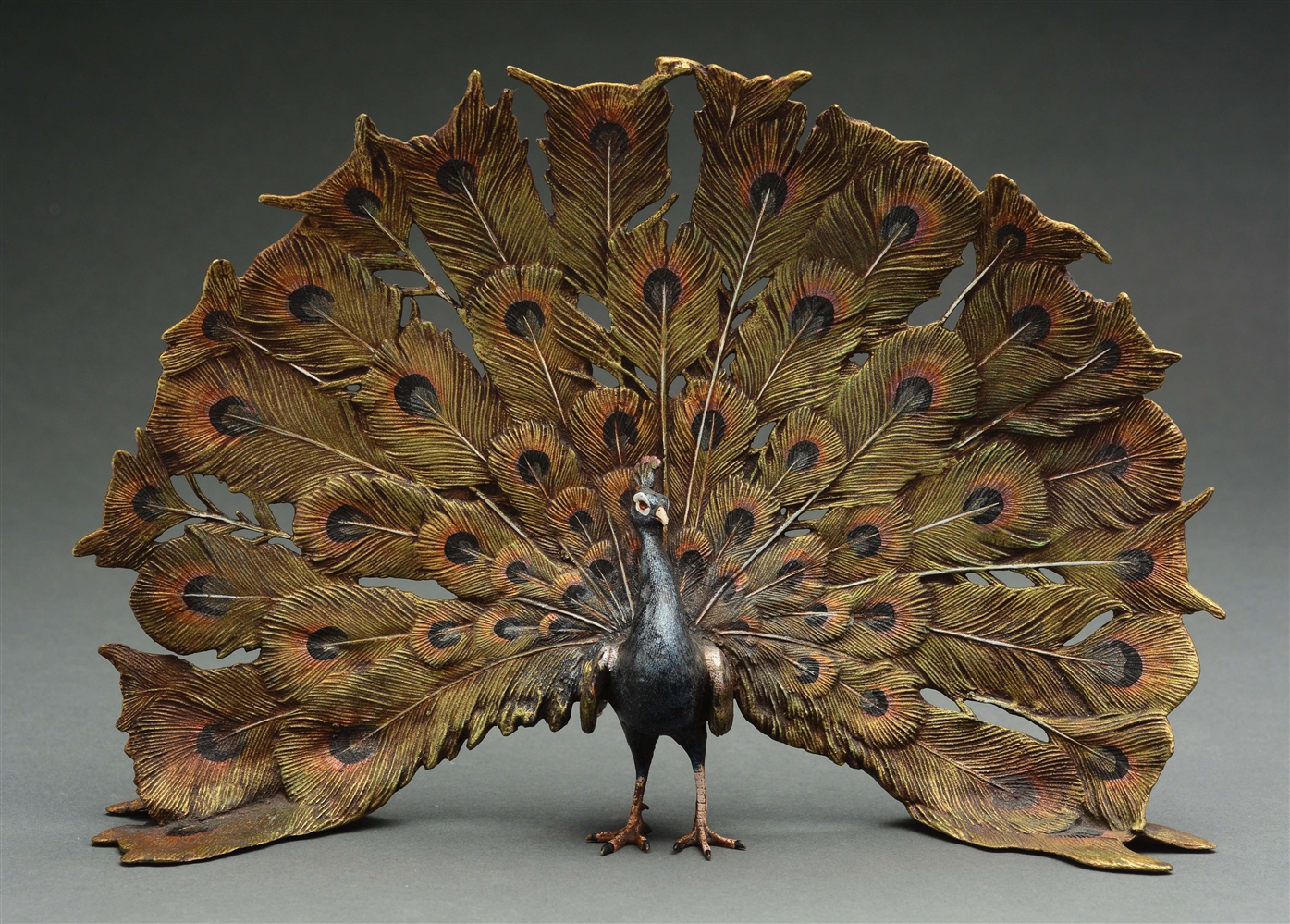Carl Kauba (1865 - 1922) Cold-Painted Bronze of a Peacock.