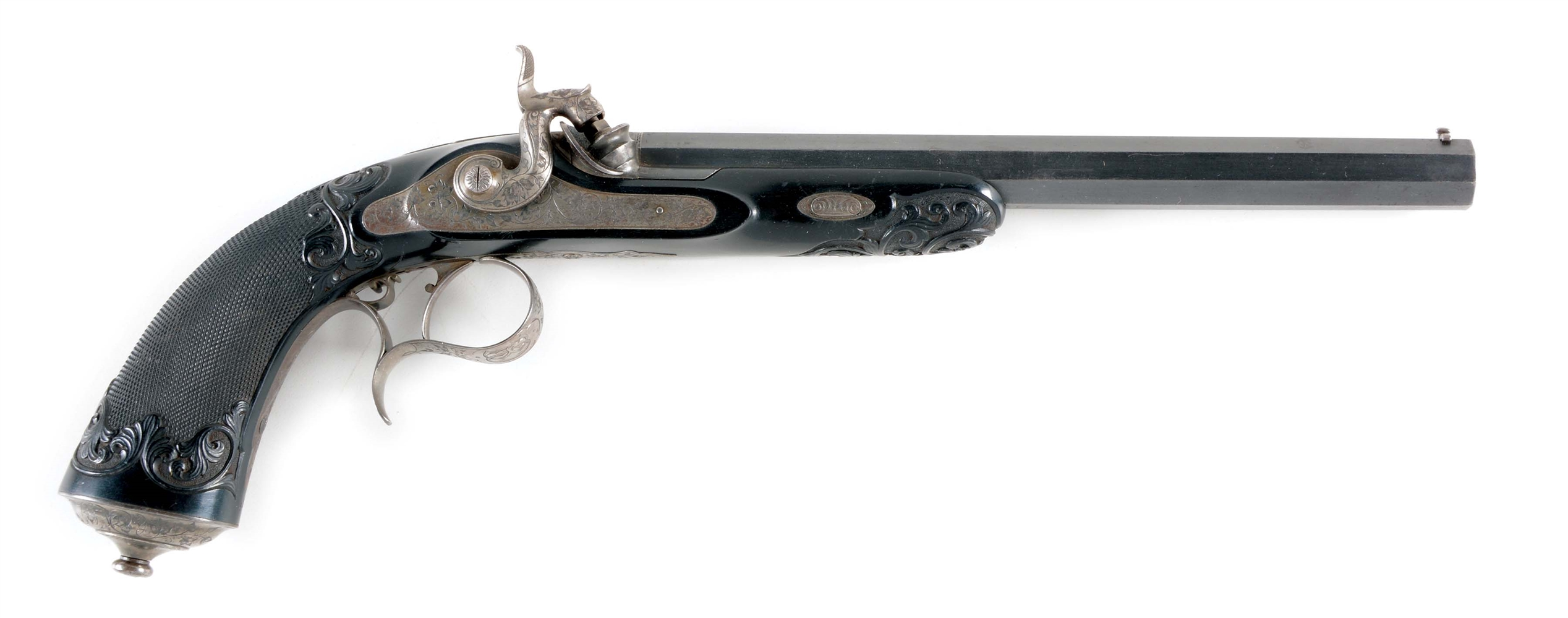 (A) GOOD FRENCH PERCUSSION TARGET PISTOL SIGNED BY FNI PAR GASTINNE RENETTE ARQUEBUSIER DE EMPEROR DE PARIS WITH FINELY CARVED AND CHECKERED EBONY STOCK CIRCA 1860.