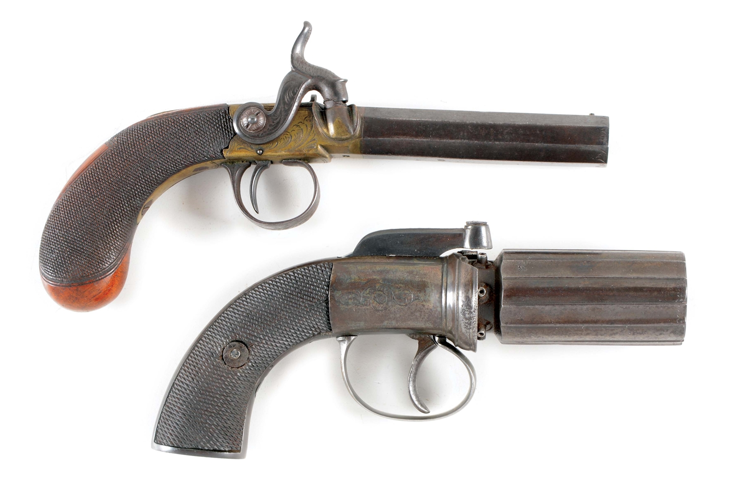 (A) LOT OF 2: COLLECTORS LOT CONSISTING OF AN UNMARKED SIX SHOT ENGLISH PEPPERBOX AND A BRASS FRAME SIDEHAMMER PERCUSSION POCKET PISTOL SIGNED EGG, LONDON.