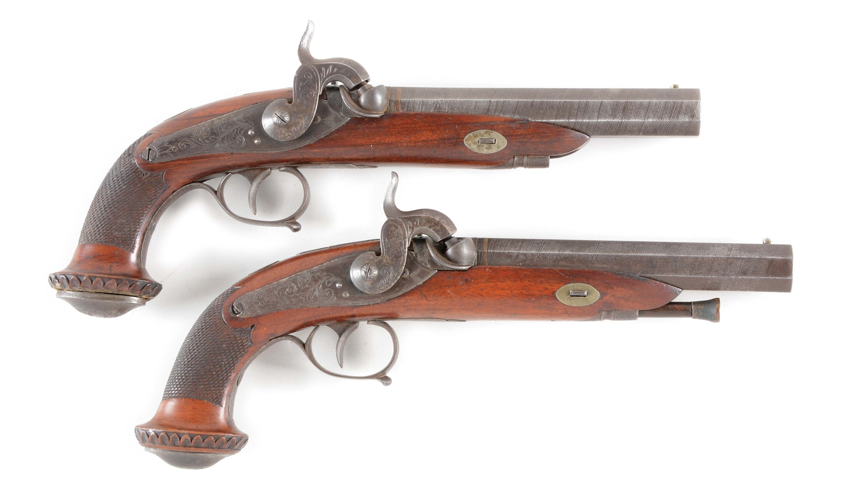 (A) SCARCE PAIR OF CONTINENTAL PERCUSSION BELT PISTOLS CIRCA 1850.