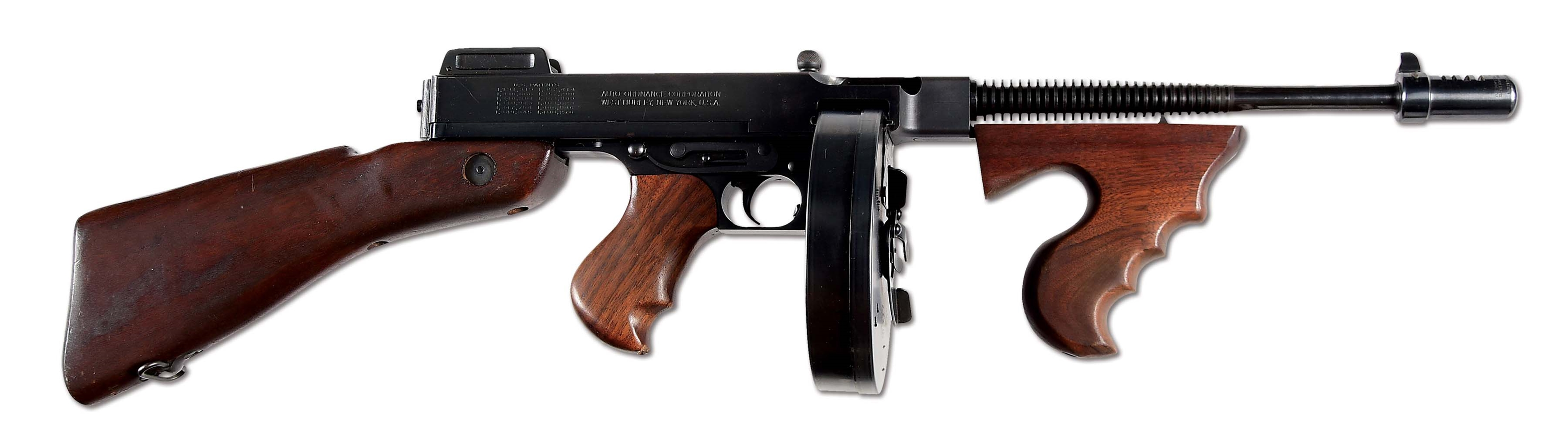 (N) ATTRACTIVE AND WELL ACCESSORIZED AUTO ORDNANCE WEST HURLEY THOMPSON MODEL 1928 MACHINE GUN (CURIO AND RELIC).