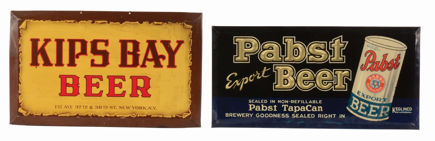 LOT OF 2: PABST & KIPS BAY BEER ADVERTISING SIGNS.