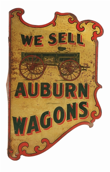AUBURN WAGONS TIN FLANGE ADVERTISING SIGN.