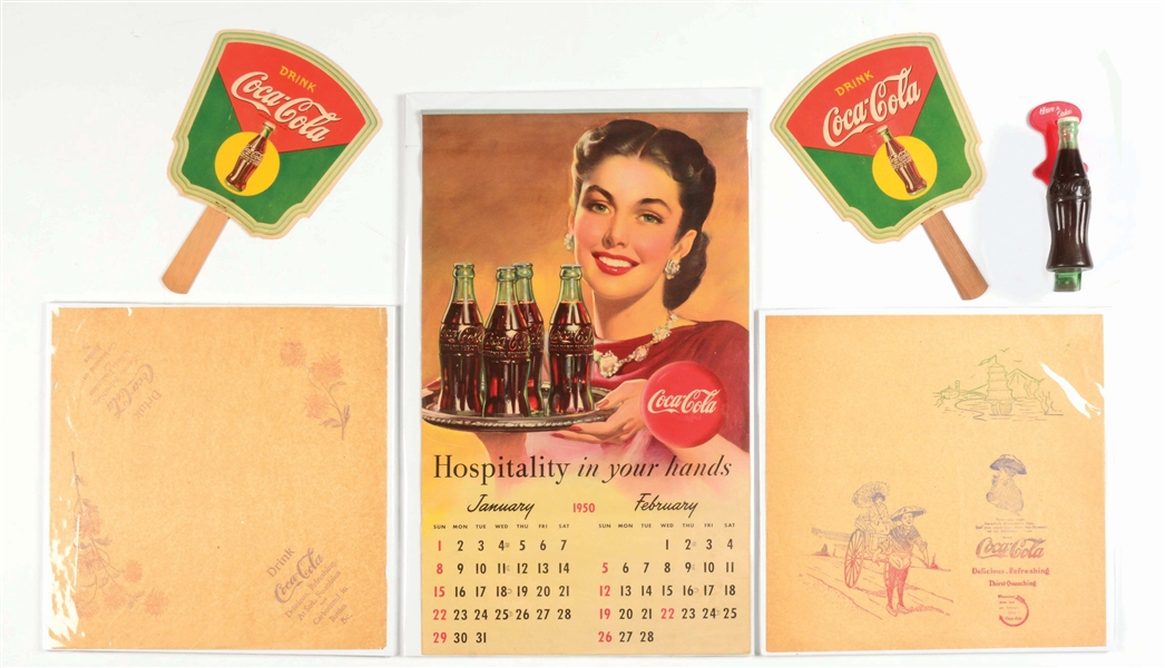 LOT OF 6: COCA-COLA HAND FANS, CALENDAR DOOR PULL & NAPKINS.