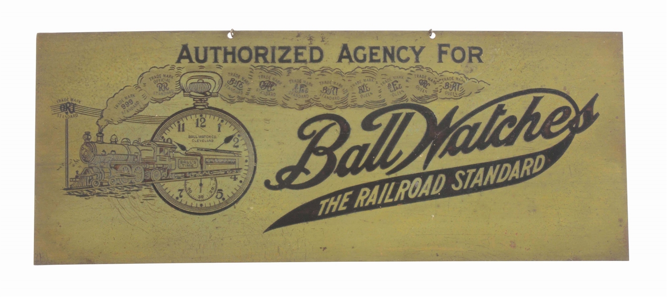 EARLY BALL WATCHES ETCHED BRASS ADVERTISING SIGN.