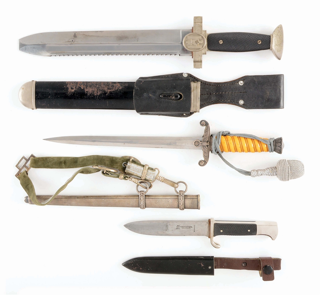 LOT OF3: THIRD REICH HEER, RED CROSS HEWER, AND HITLER YOUTH DAGGERS.