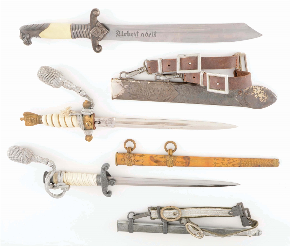 LOT OF 3: THIRD REICH HEER, RAD, AND KRIEGSMARINE DAGGERS.