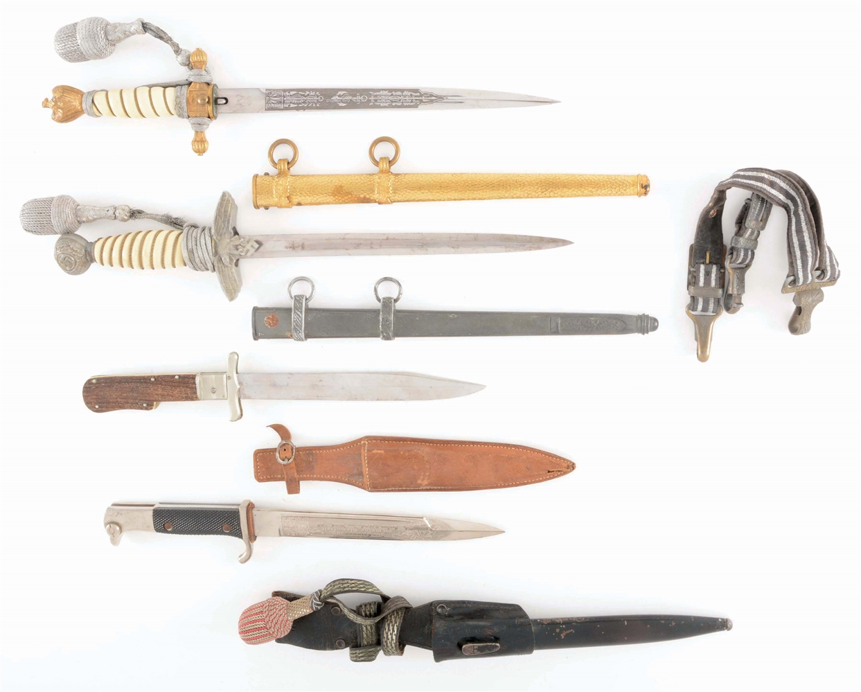 LOT OF 4: THIRD REICH HEER AND KRIEGSMARINE DAGGERS, FOLDING KNIFE, AND DRESS BAYONET.