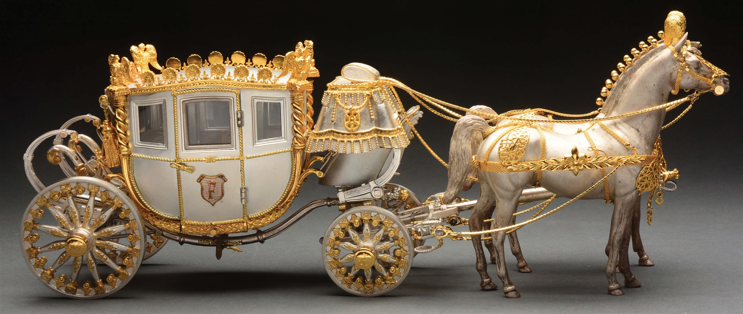 Sterling Silver Stage Coach Pulled By Two Horses.