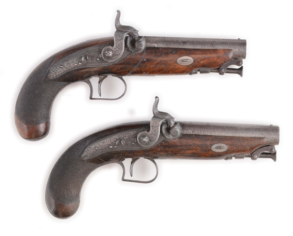 (A) LOT OF TWO: A HIGH QUALITY CASED PAIR OF ENGLISH PERCUSSION TRAVELLING PISTOLS BY THOMAS STEVENS, 43 HIGH HOLBORN STREET, LONDON, 1823-1842.