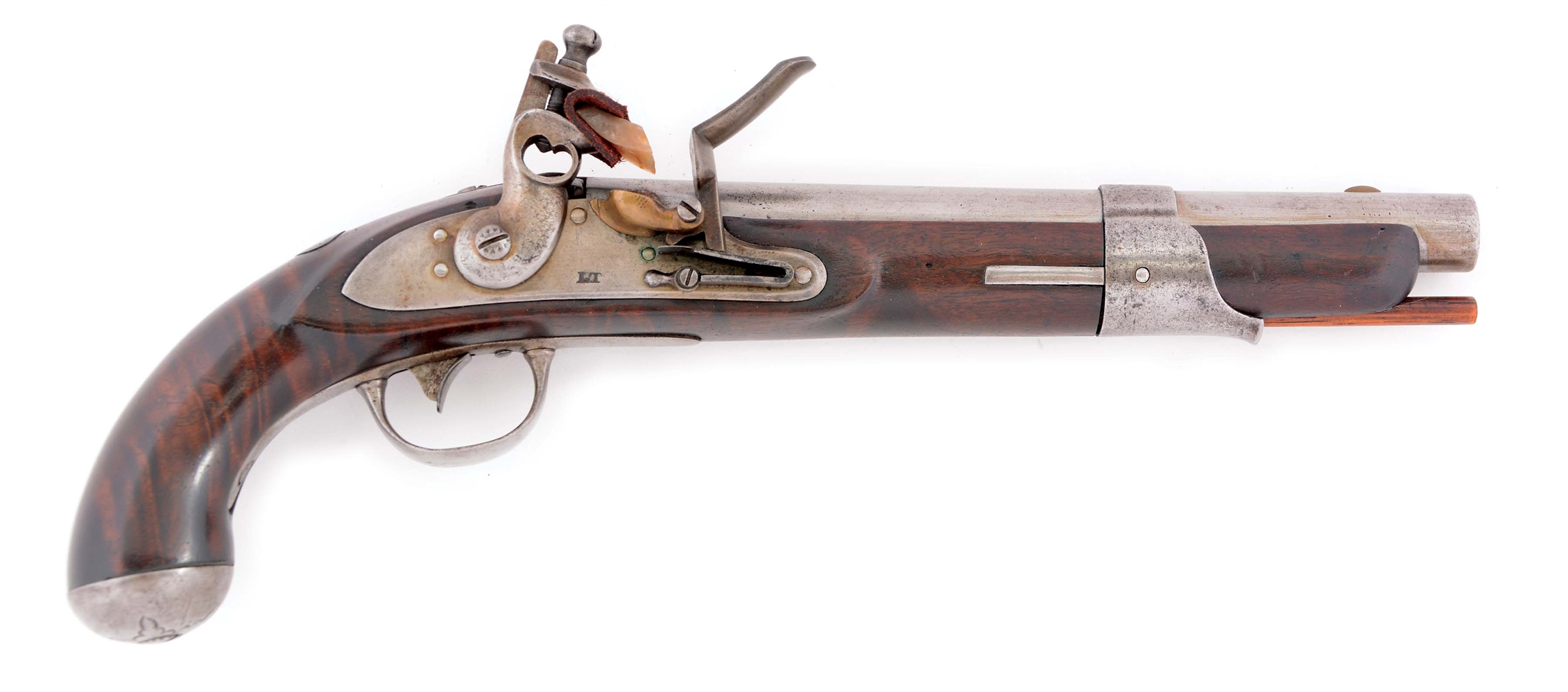(A) RARE POSSIBLY UNIQUE AMERICAN FLINTLOCK SINGLE SHOT PISTOL, WITH A DISTINGUISHED PROVENANCE, MADE FROM PARTS OF AN 1826 NORTH NAVY.