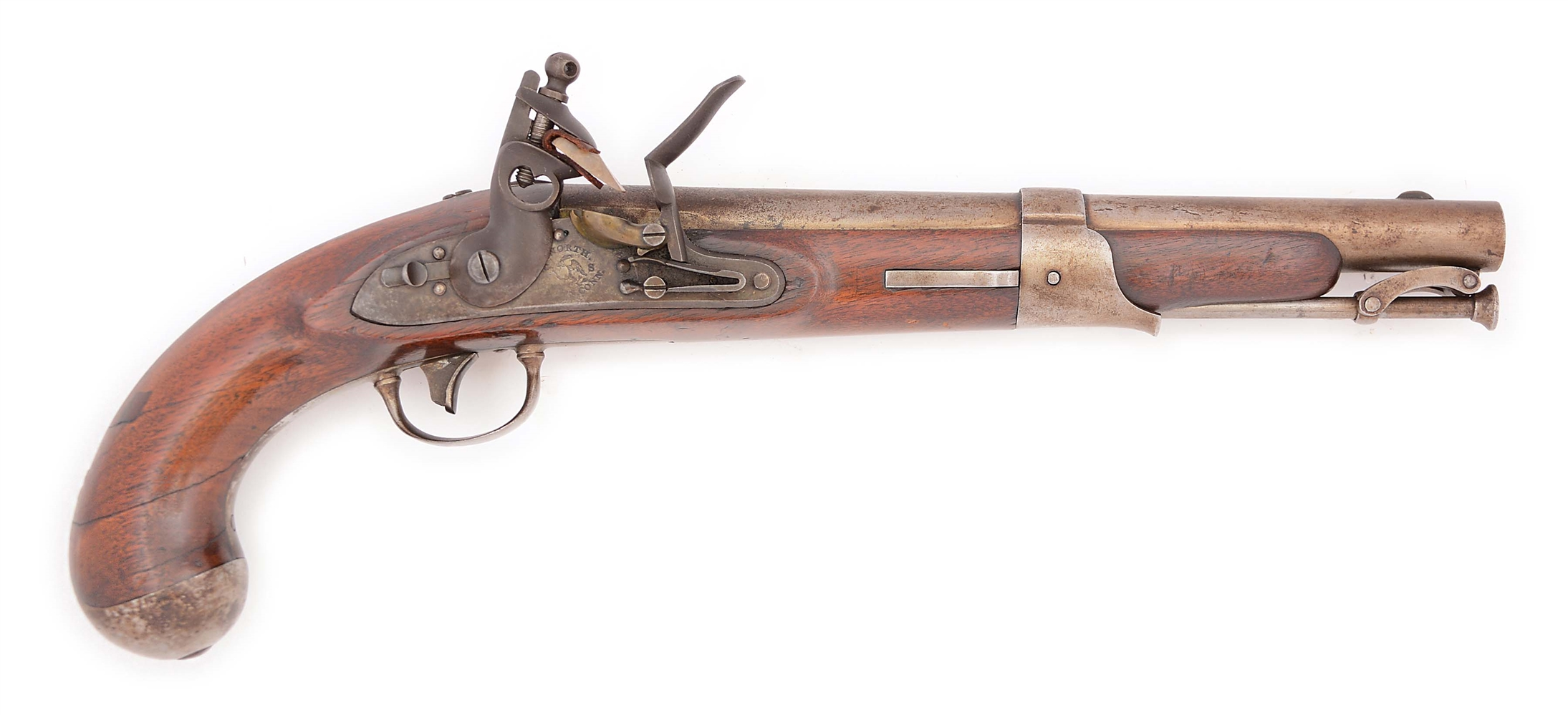 (A) A CONSIDERABLY BETTER THAN AVERAGE US 1819 FLINTLOCK MARTIAL PISTOL BY SIMEON NORTH, UNDATED.