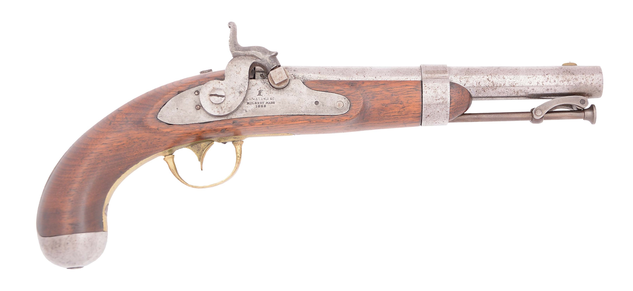 "(A) A SCARCE 1842 ""FLAT LOCK"" WATERS SINGLE SHOT PERCUSSION MARTIAL PISTOL."