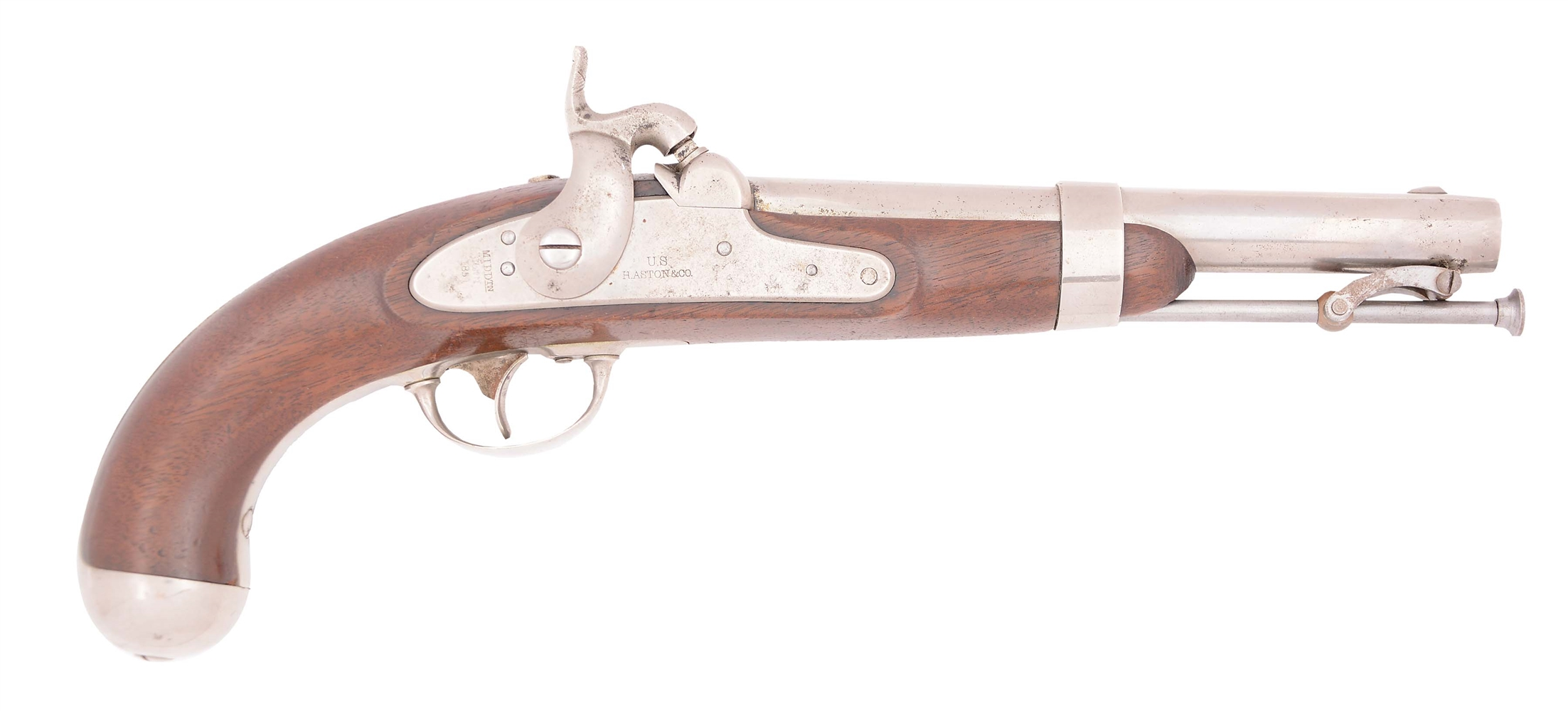 (A) A US MODEL 1842 PERCUSSION SINGLE SHOT MARTIAL PISTOL BY H. ASTON, DATED 1851.