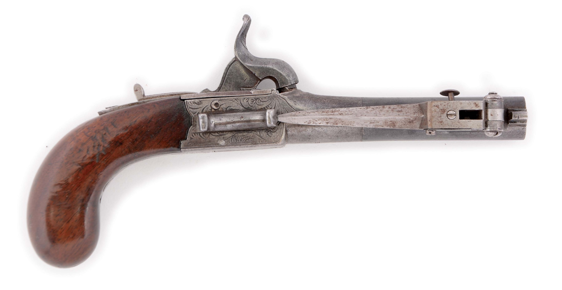 (A) AN UNUSUAL PERCUSSION BOXLOCK ENGLISH PISTOL WITH SIDE SNAP BAYONET RETAILED BY TRYON, PHILADELPHIA. PISTOL BY R.H. WITH BRITISH PROOFS, CIRCA 1840.