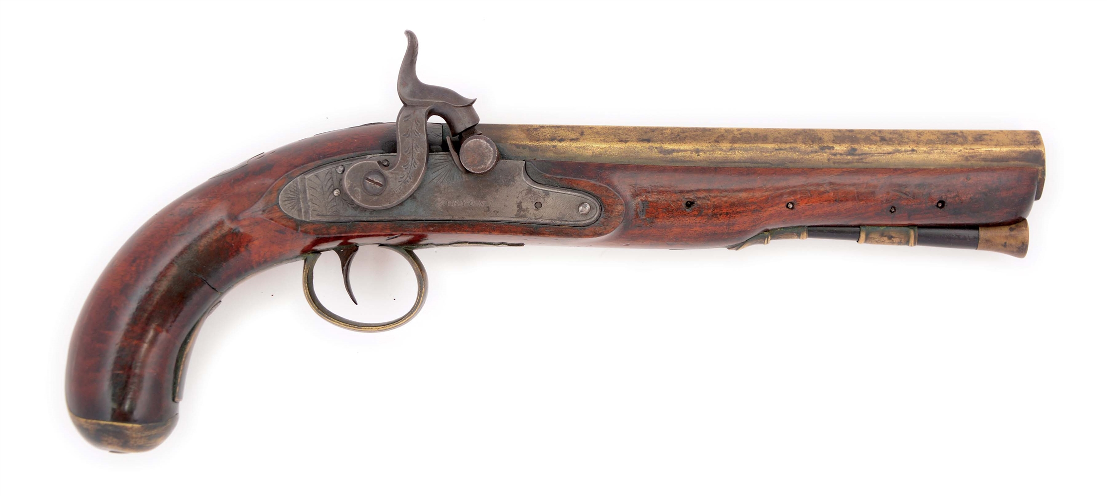 (A) AN AMERICAN KENTUCKY STYLE SINGLE SHOT FLINTLOCK PISTOL CONVERTED TO PERCUSSION BY TRYON, PHILADELPHIA.