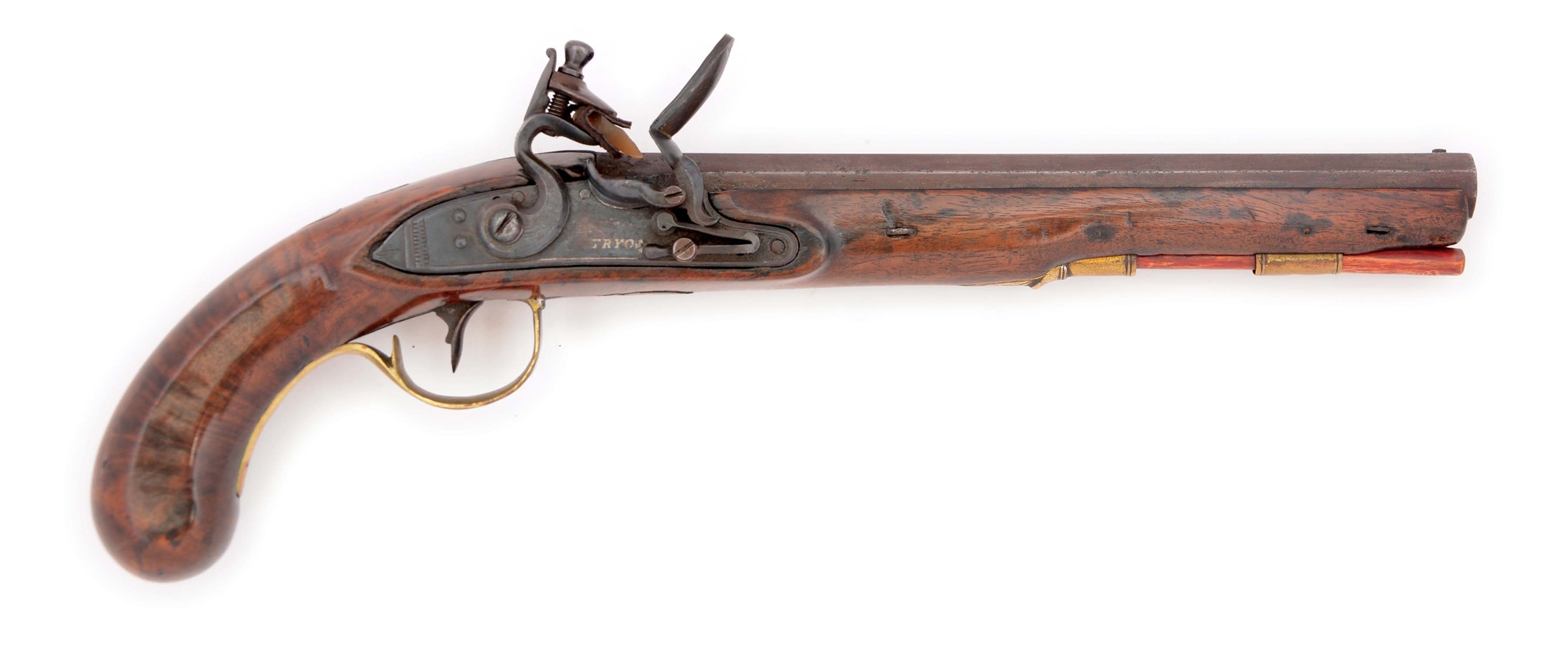 (A) A GOOD KENTUCKY PISTOL BY EDWARD TRYON SIGNED TRYON PHILADA ON BARREL AND TRYON ON LOCK.