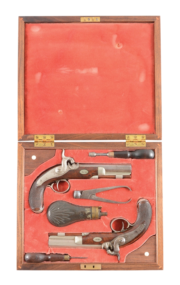 (A) AN UNUSUAL CASED PAIR OF DIMINUTIVE PERCUSSION BELT PISTOLS MARKED TRYON PHILADELPHIA ON LOCKS, ADDITIONALLY L. FISHER LYNCHBURG VA ON BARRELS.