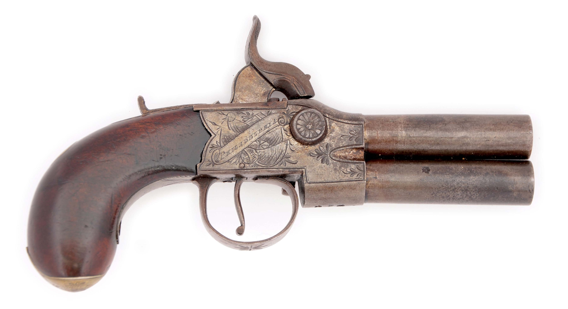 (A) AN ENGLISH TAP ACTION BOXLOCK PERCUSSION PISTOL BY R.H. FOR TRYON PHILADELPHIA.