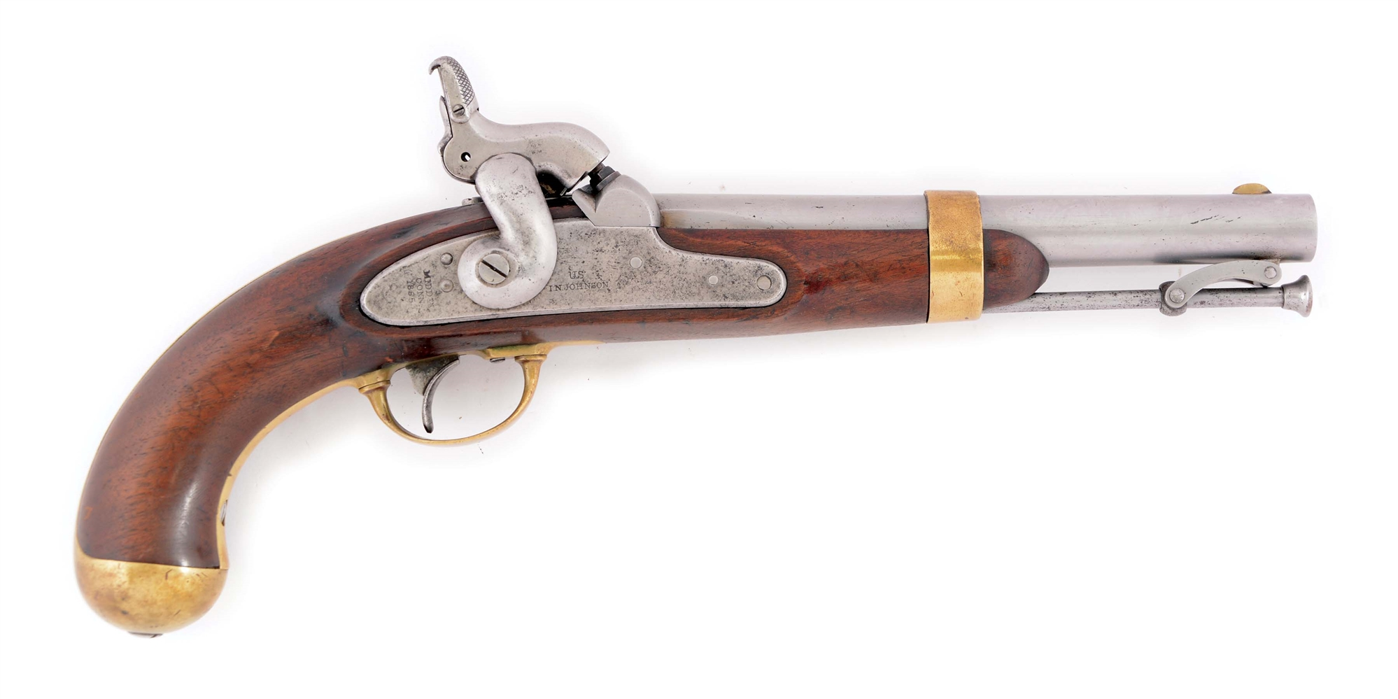 (A) A RARE AND UNUSUAL SPRINGFIELD ARMORY ALTERATION OF AN 1842 SINGLE SHOT PERCUSSION MARTIAL PISTOL TO AUTOMATIC PRIMING.