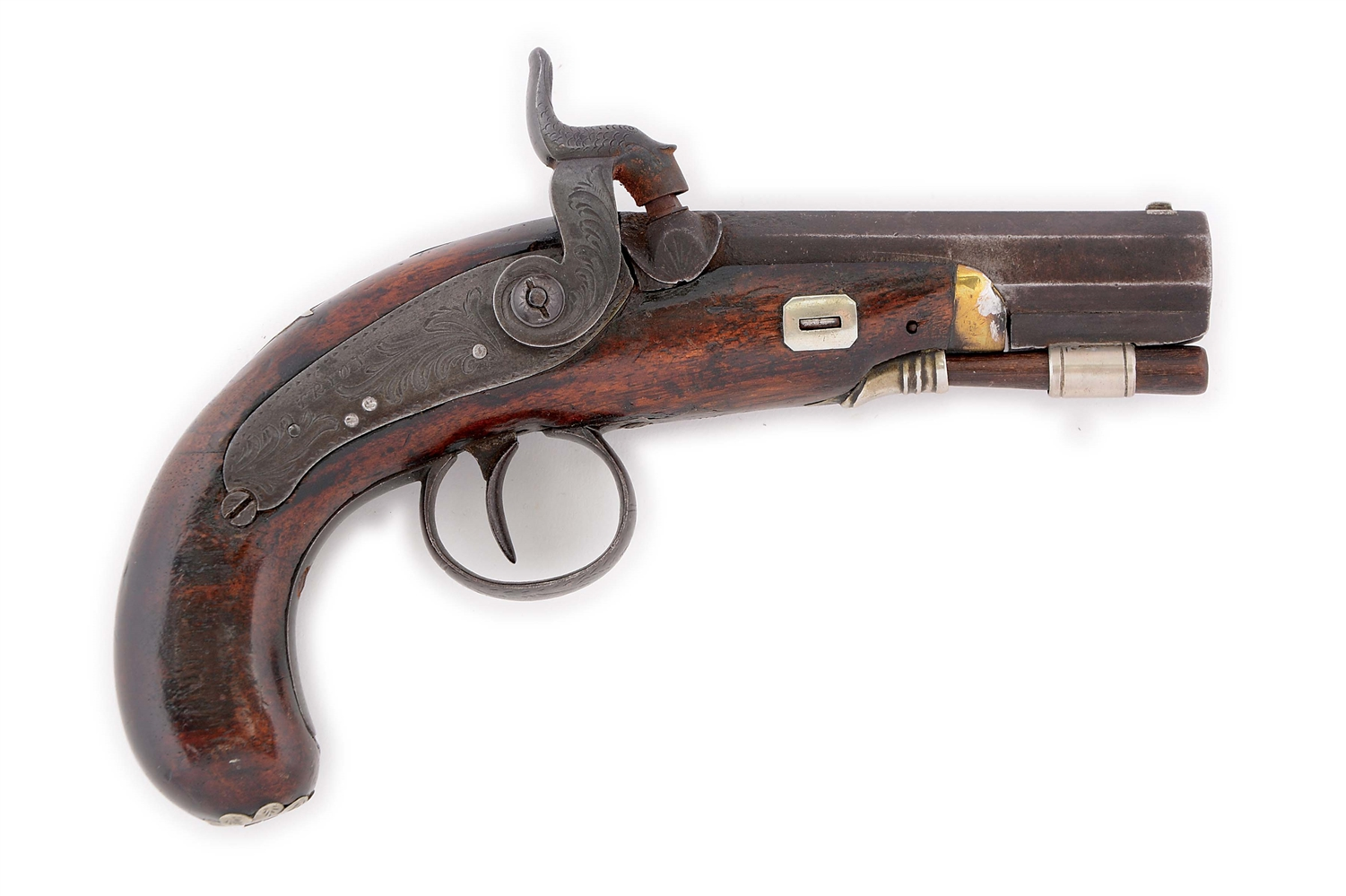 (A) RARE CONFEDERATE AGENT MARKED DERINGER STYLE PISTOL BY TRYON, PHILADELPHIA, FOR HYDE & GOODRICH, NO. CIRCA 1850.